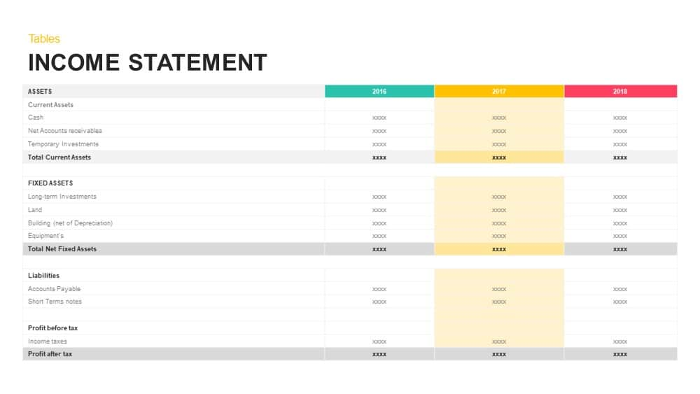 Income Statement powerpoint and keynote template