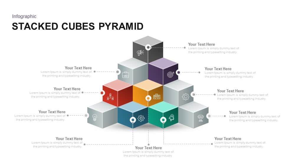 Stacked Cubes Pyramid PowerPoint and Keynote template
