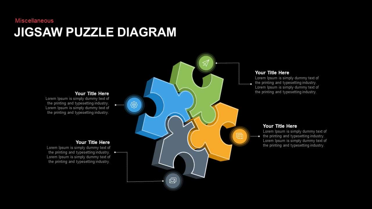 Jigsaw Puzzle Diagram Powerpoint template
