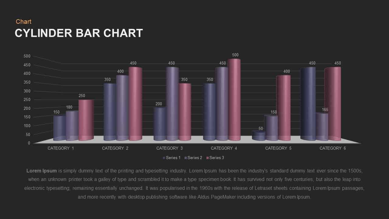 Cylinder Bar Chart PowerPoint template
