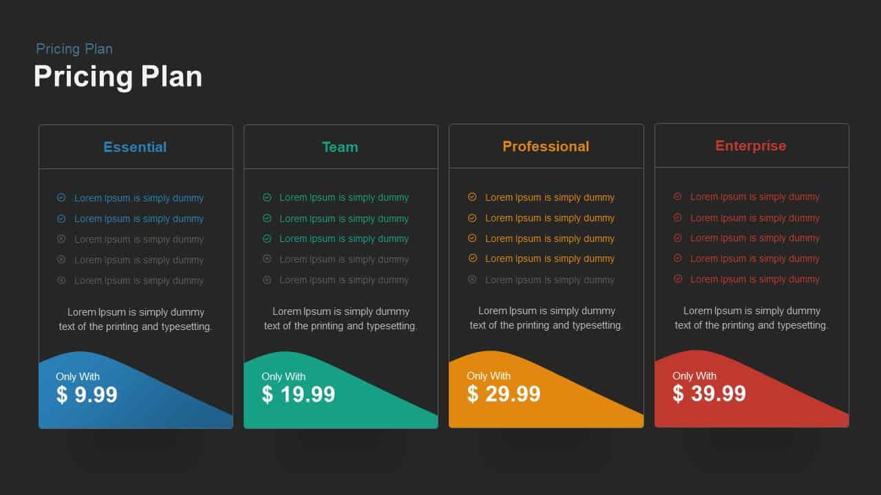 Four Pricing Plan Powerpoint template