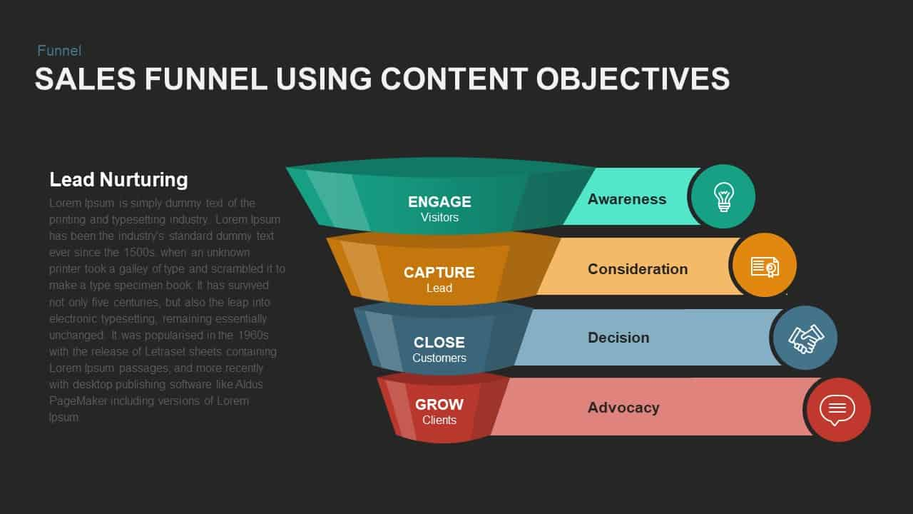 Sales Funnel Using Content Objectives Powerpoint template
