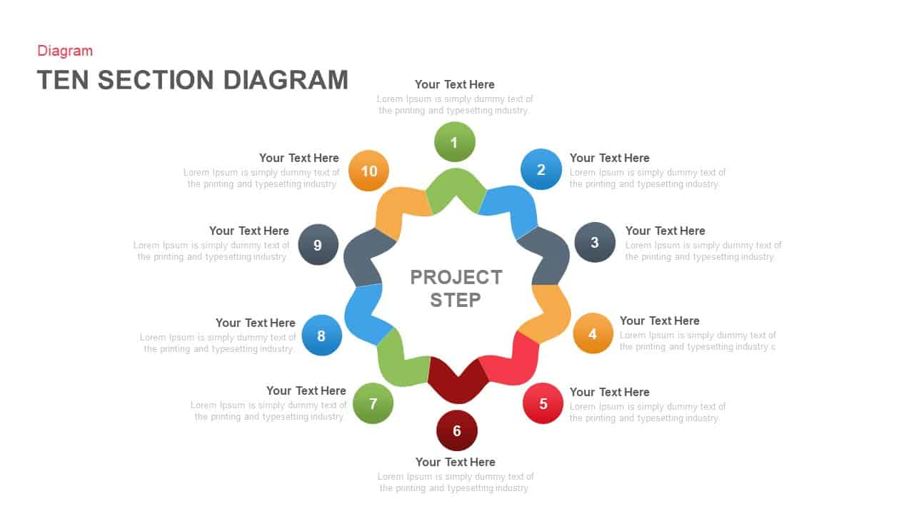 Ten section PowerPoint diagram template and keynote