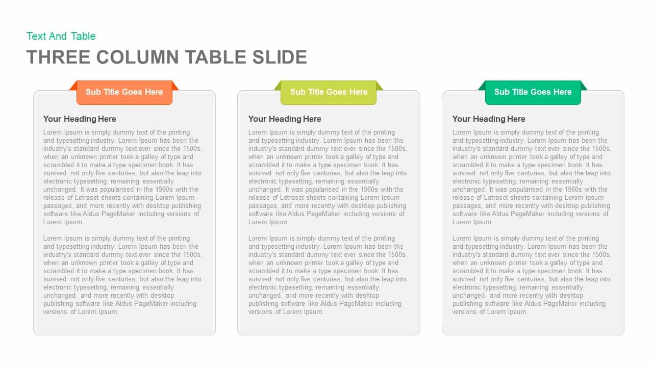 Three Column Table Slide PowerPoint and Keynote template