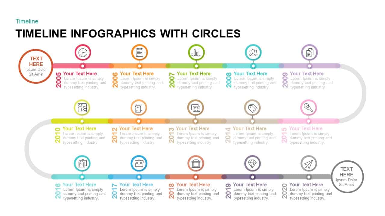 timeline infographics with circles powerpoint template