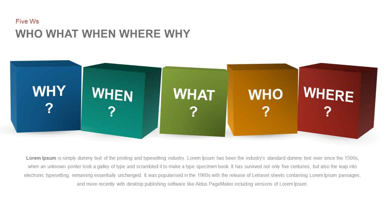 Who What When Where Why Five Ws PowerPoint template