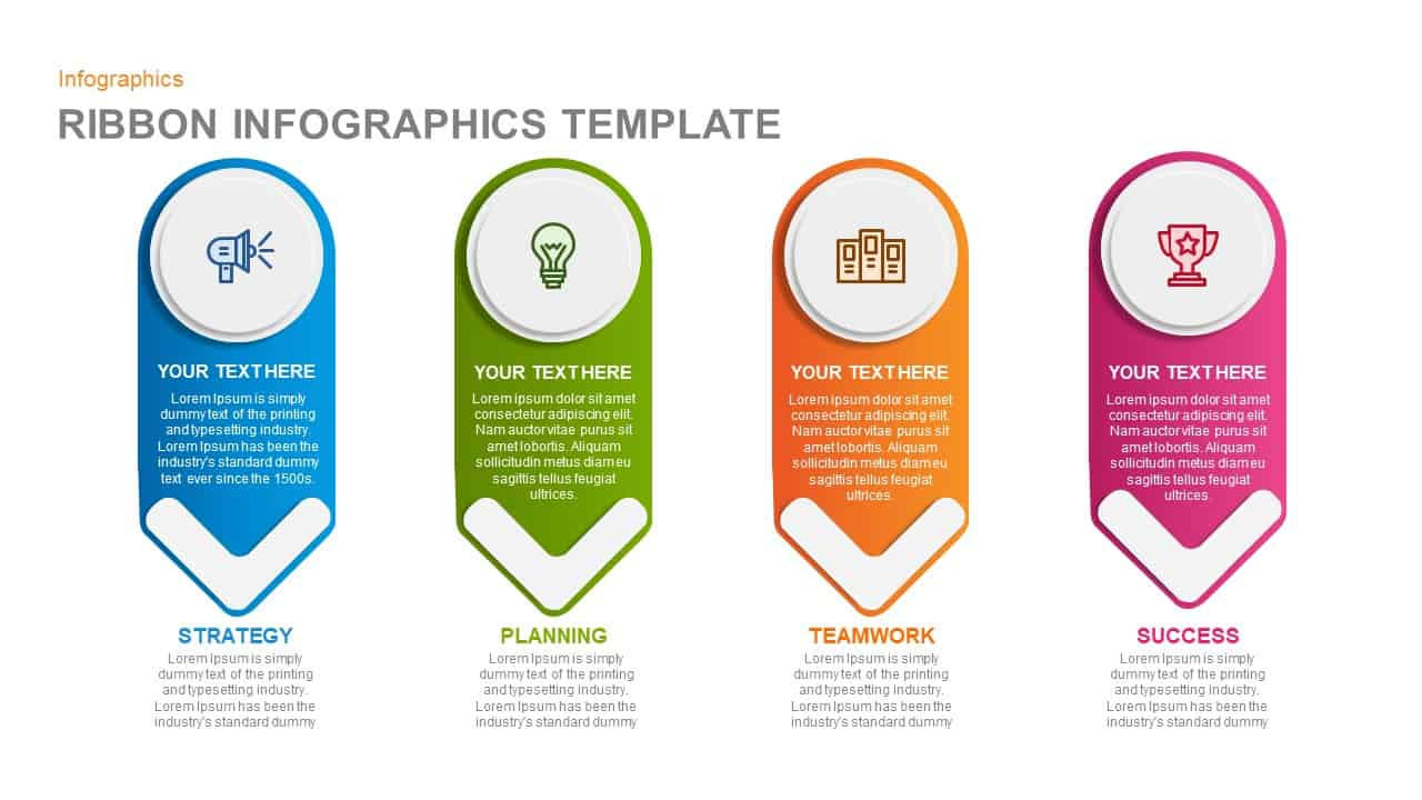 Ribbon Infographics PowerPoint template