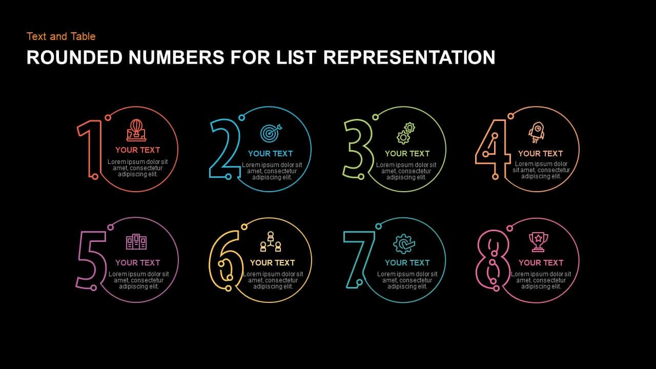 Rounded Numbers for List Representation PowerPoint template