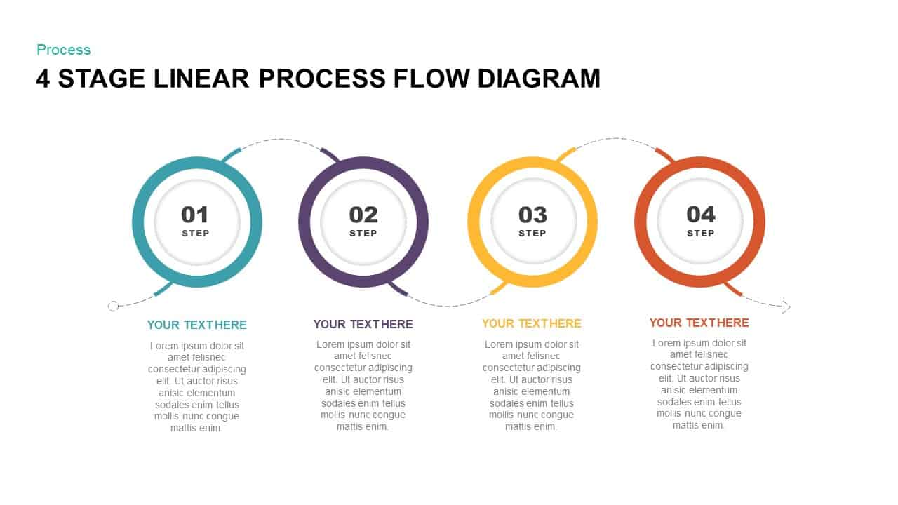 4 Stage Linear Process Flow Diagram PowerPoint Template & Keynote Template