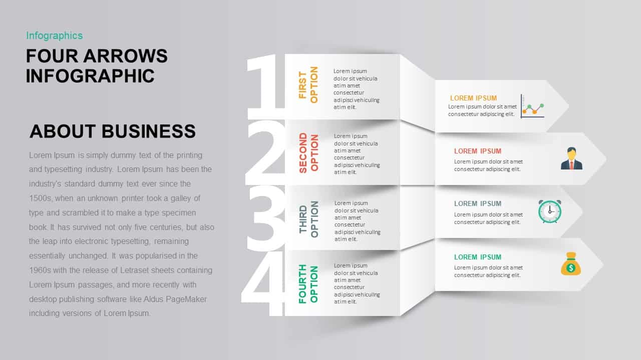 Infographic Four Arrows PowerPoint Template