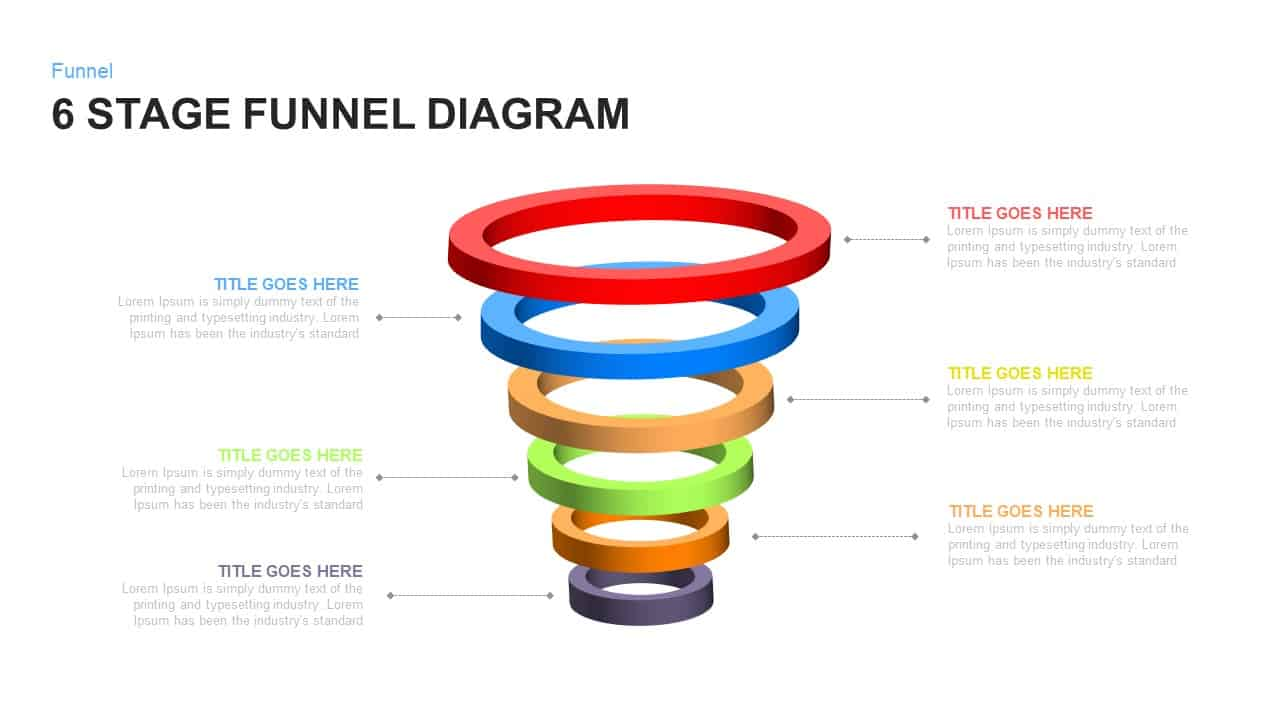 6 stage funnel diagram PowerPoint template and keynote