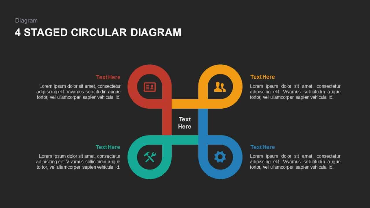 4 stage circular diagram powerpoint template and keynote