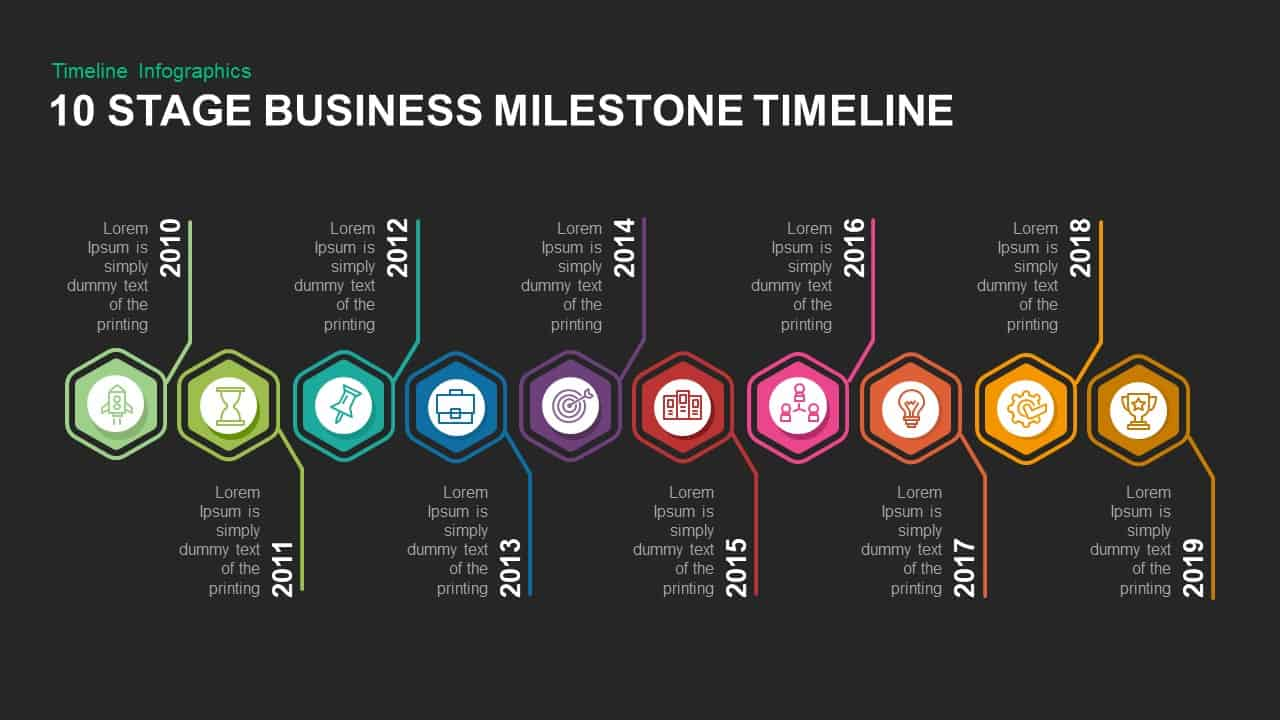 10 Stage Business Milestones Timeline Template for PowerPoint and Keynote