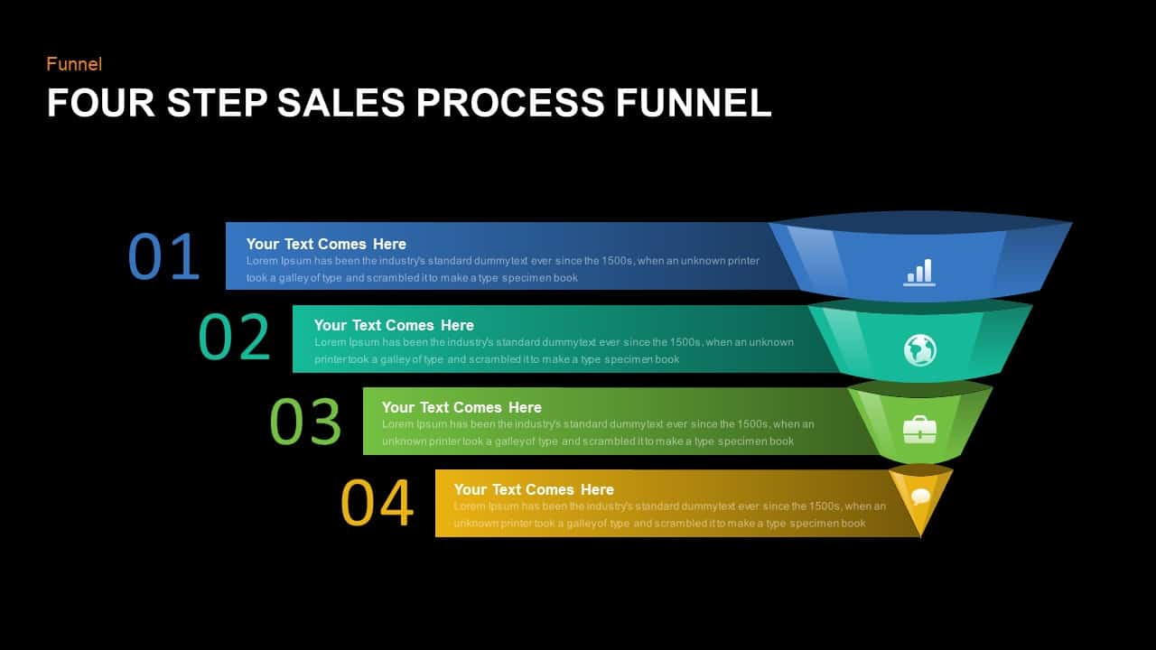 4 step process sales funnel PowerPoint template and keynote
