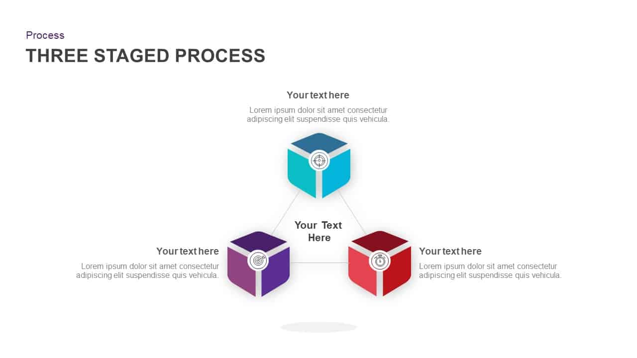 3 Stage Process Circular Diagram PowerPoint Template
