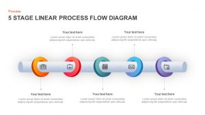 5 Stage Linear Process Diagram for PowerPoint and Keynote