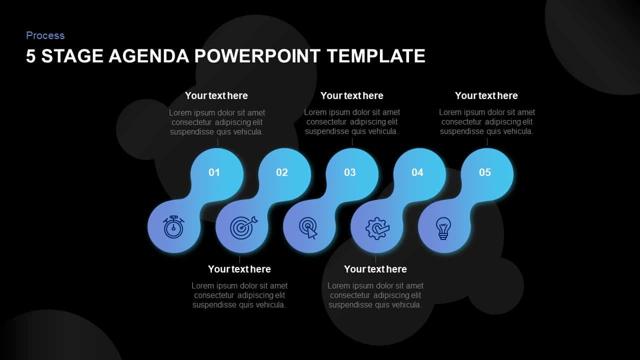 5 Stage Agenda Template for PowerPoint and Keynote