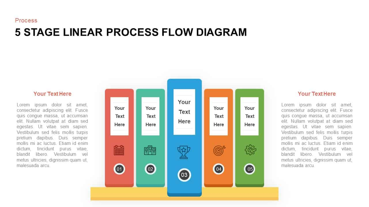 5 Steps Linear Process Flow Diagram Template for PowerPoint and Keynote