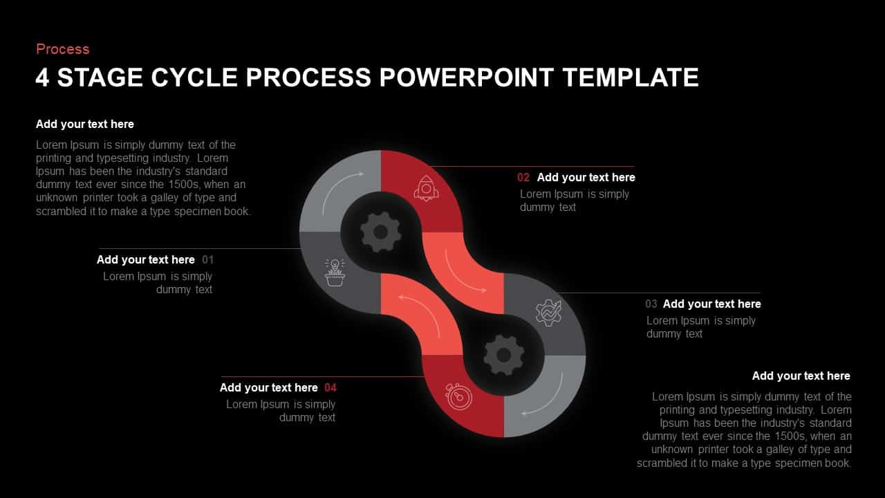 4 Step Cycle Process PowerPoint Template and Keynote