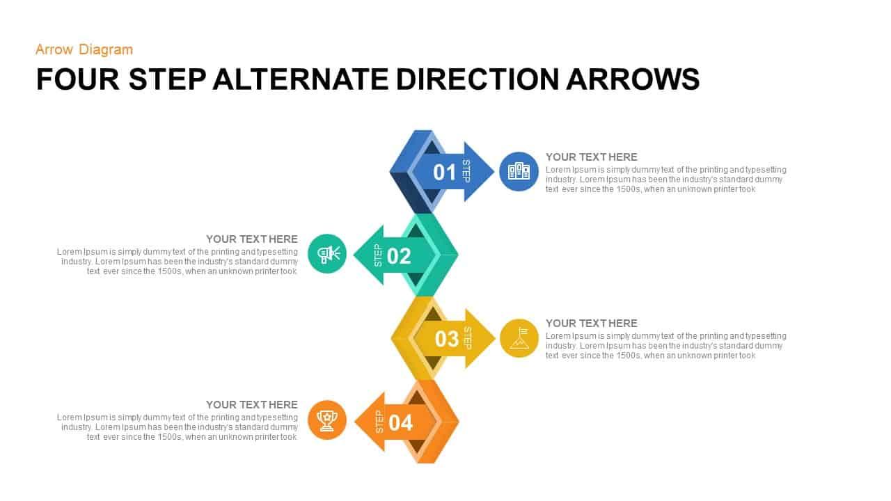 4 Steps Alternate Direction Arrows PowerPoint Template