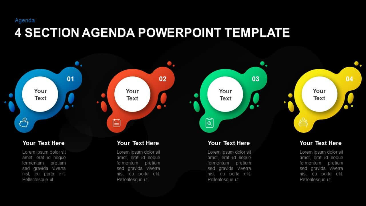 4 section agenda template for PowerPoint