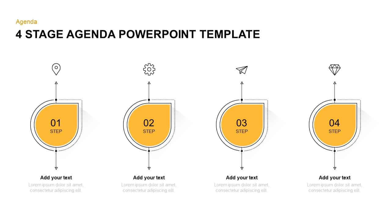 4 steps agenda PowerPoint template