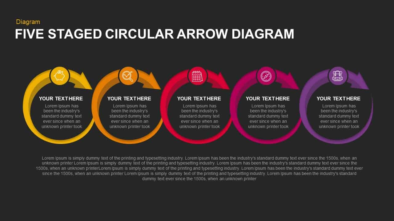 5 Steps Circular Arrow Diagram Template for PowerPoint & Keynote
