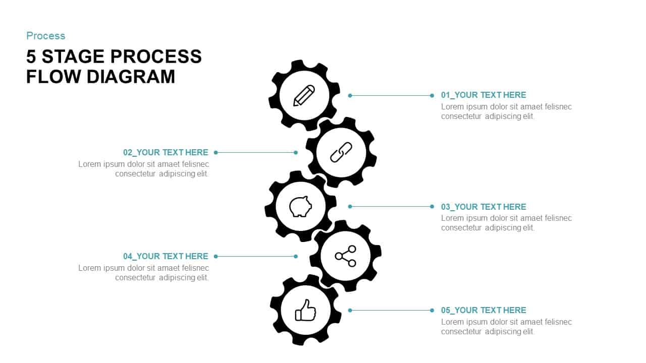 5 stage process flow diagram for powerpoint  u0026 keynote