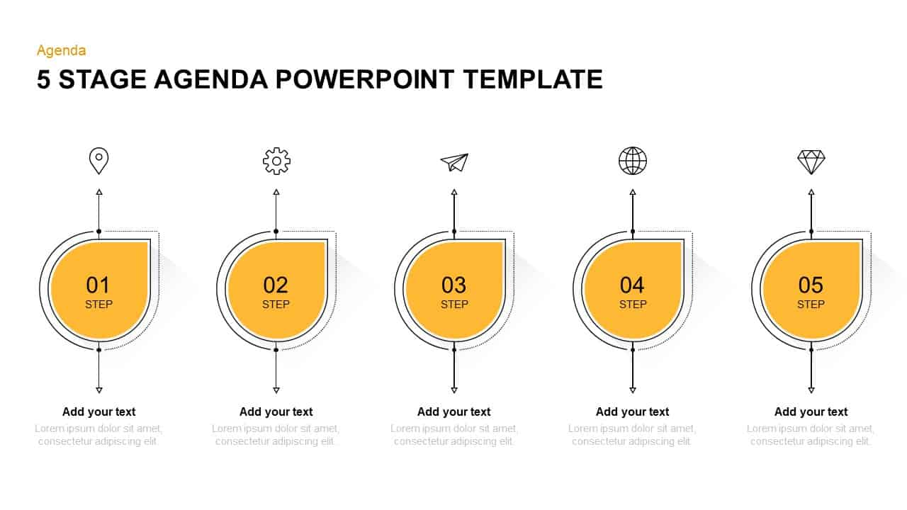 5 steps agenda PowerPoint template