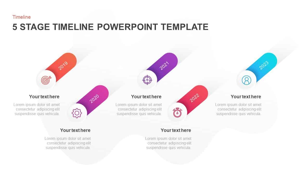 5 steps timeline PowerPoint template & keynote
