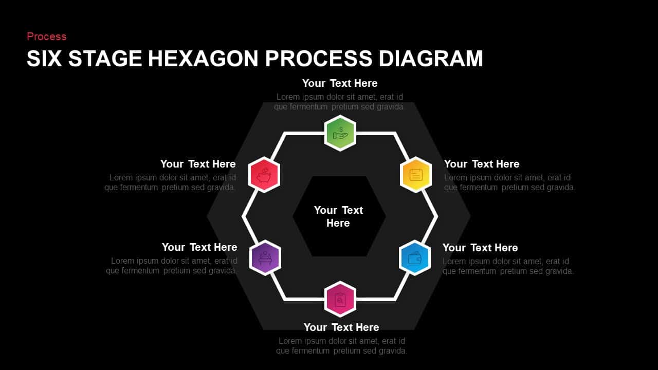6 Stage Hexagon Process Diagram Template for PowerPoint & Keynote