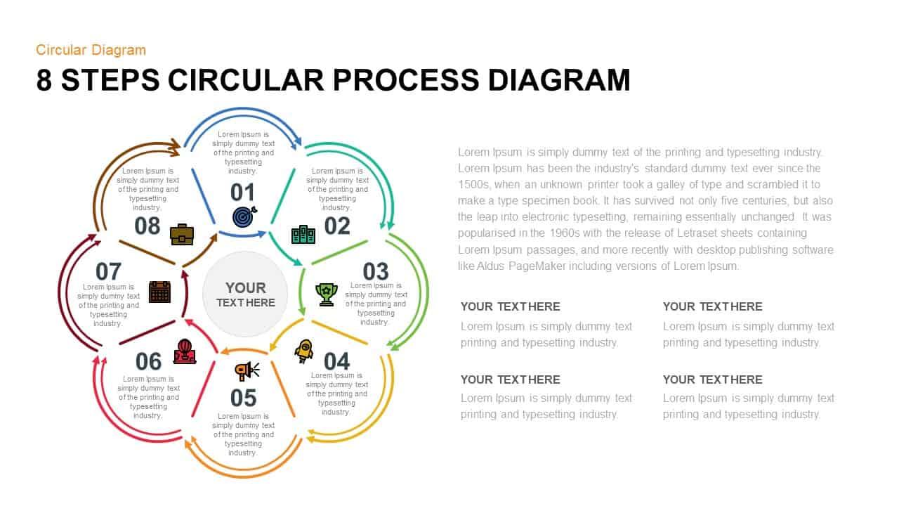 8 Step Circular Process Diagram PowerPoint Template
