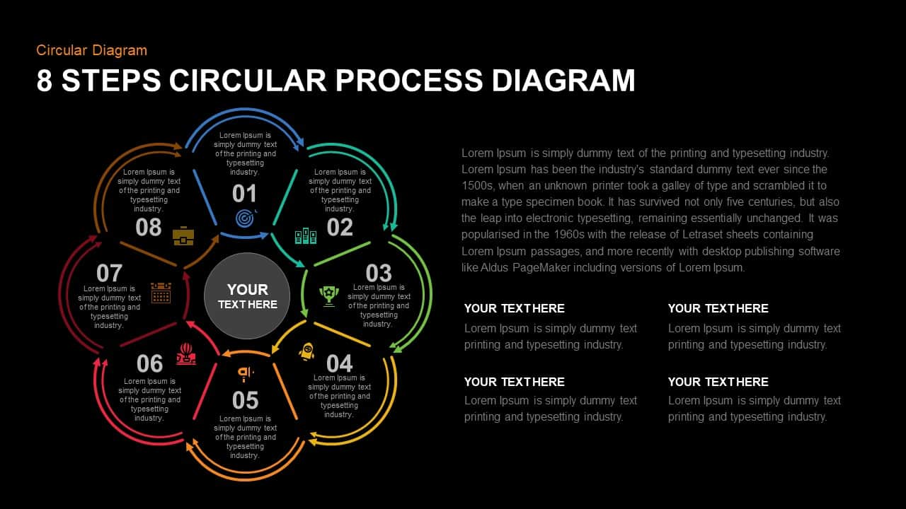 8 Step Circular Process Diagram Template for PowerPoint