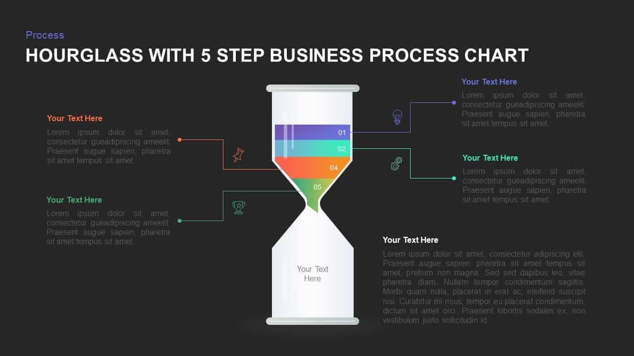 Hourglass with 4 Step Business Process Chart PowerPoint Template