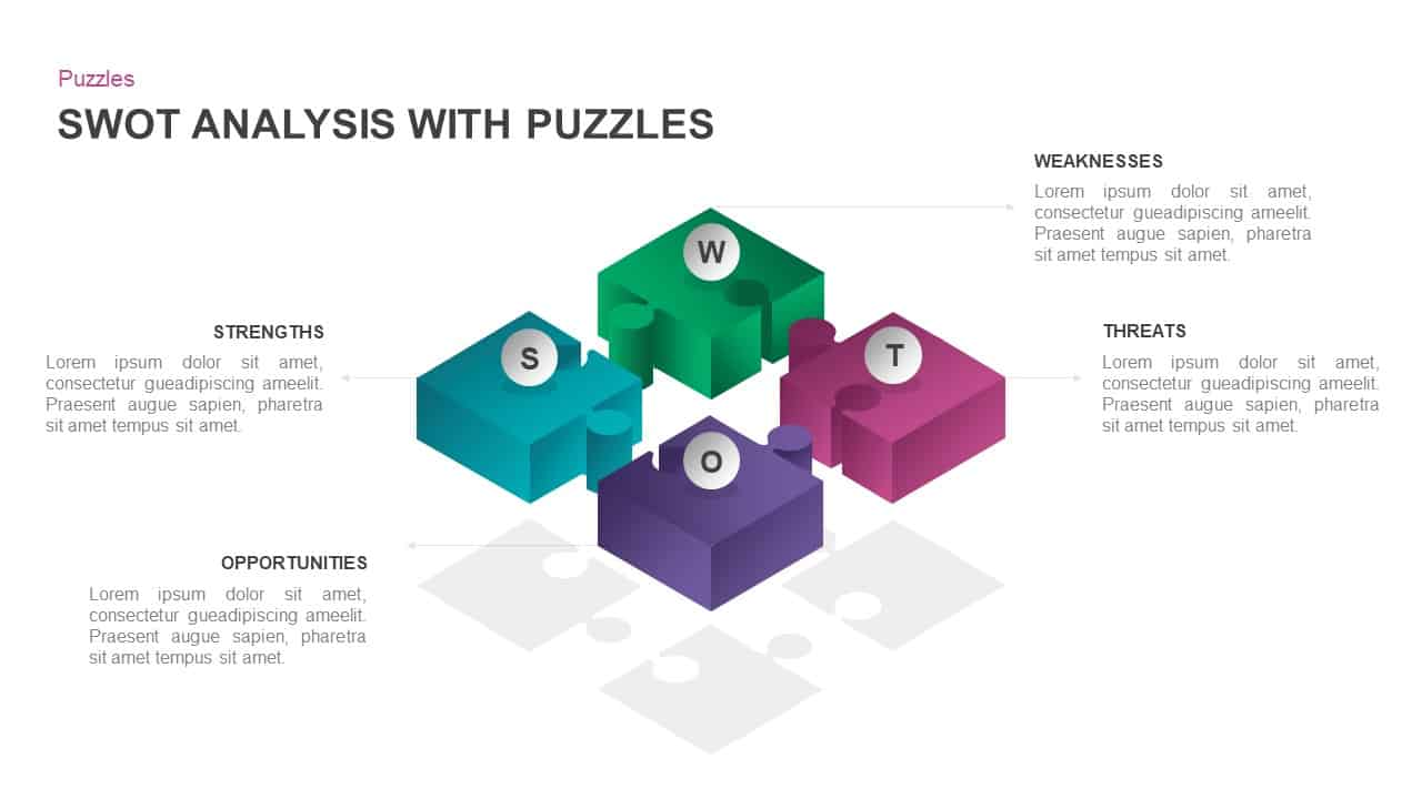 SWOT analysis with puzzle pieces template for PowerPoint