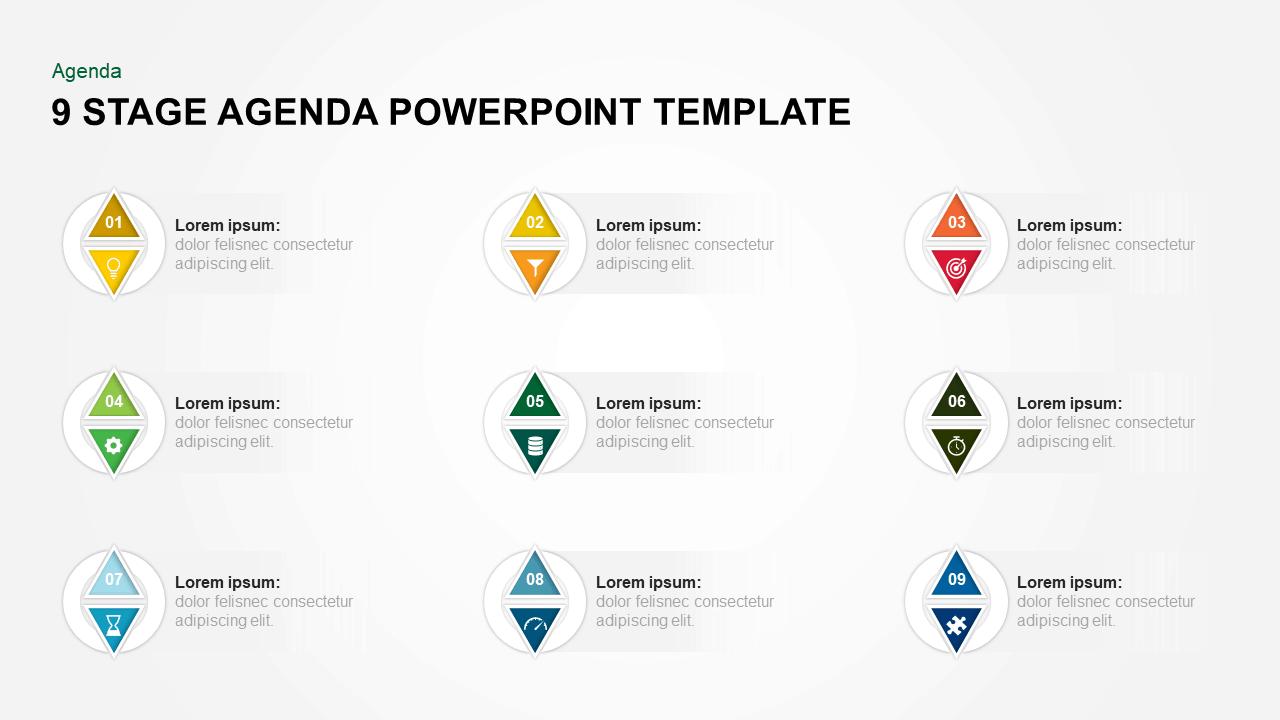 9 Steps Agenda PowerPoint Template