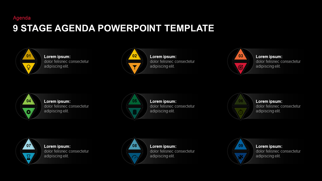 9 Steps Agenda Template for PowerPoint