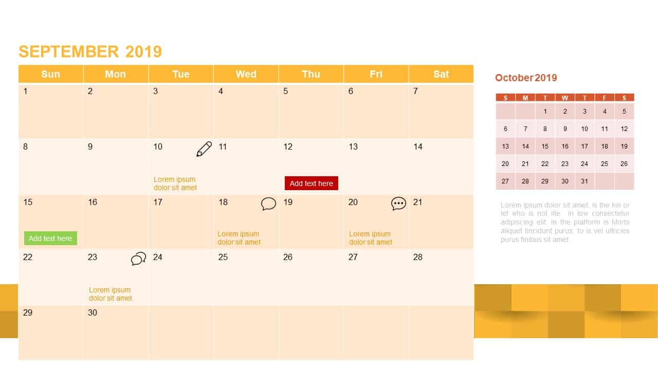 2019 Calendar PowerPoint Template September 2019