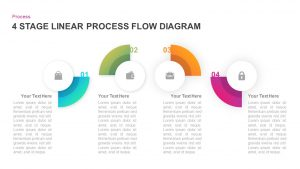 4 Stage Linear Process Flow Diagram for PowerPoint & Keynote