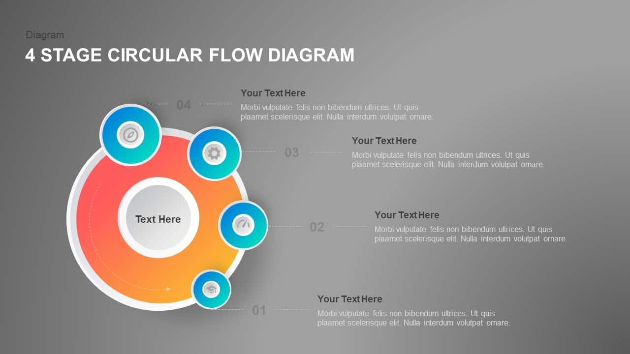 4 Step Circular Flow Diagram PowerPoint Template