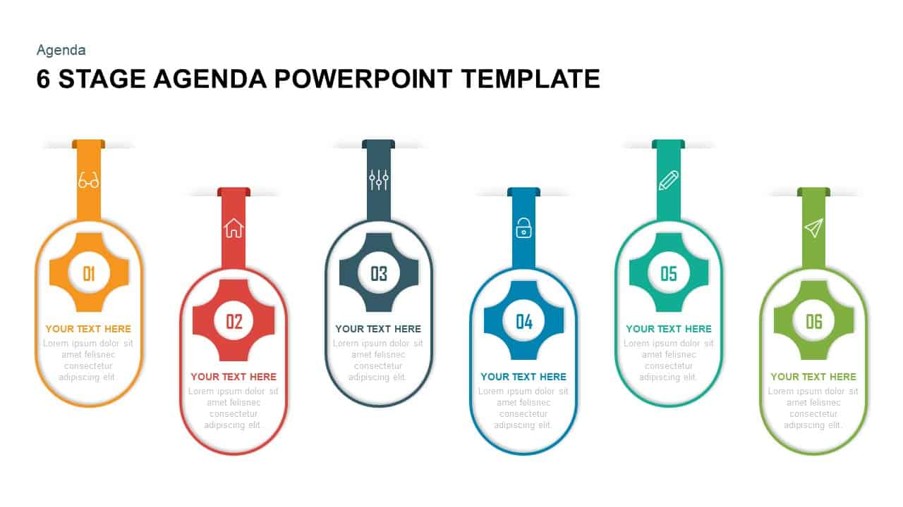 6 stage agenda PowerPoint template