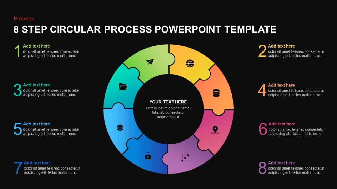 8 step circular process template for PowerPoint