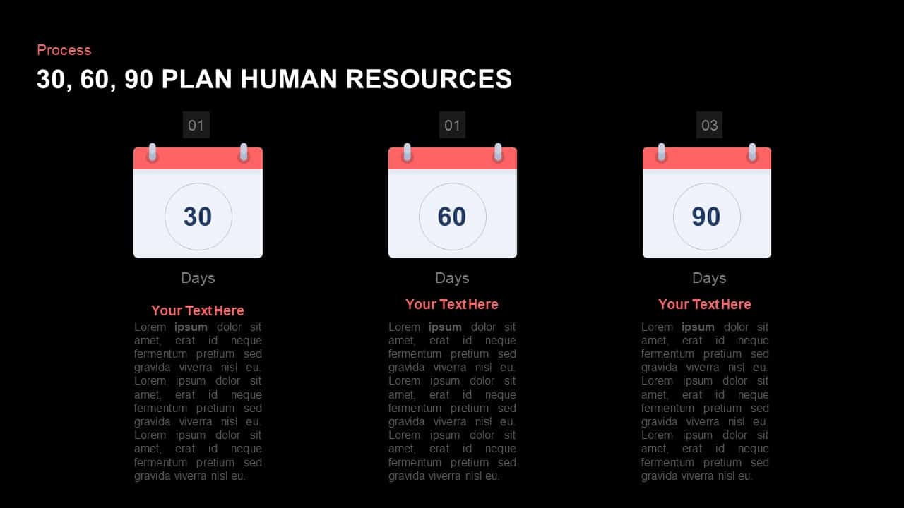 30 60 90 Day Plan PowerPoint Template for Human Resources