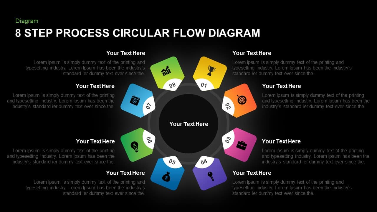 8 Step Circular Process Flow Diagram Template for PowerPoint