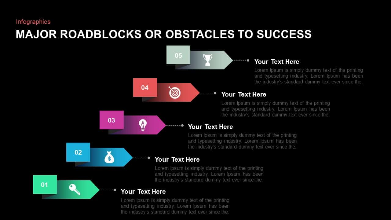 Major Roadblocks Or Obstacles To Success PowerPoint Diagrams