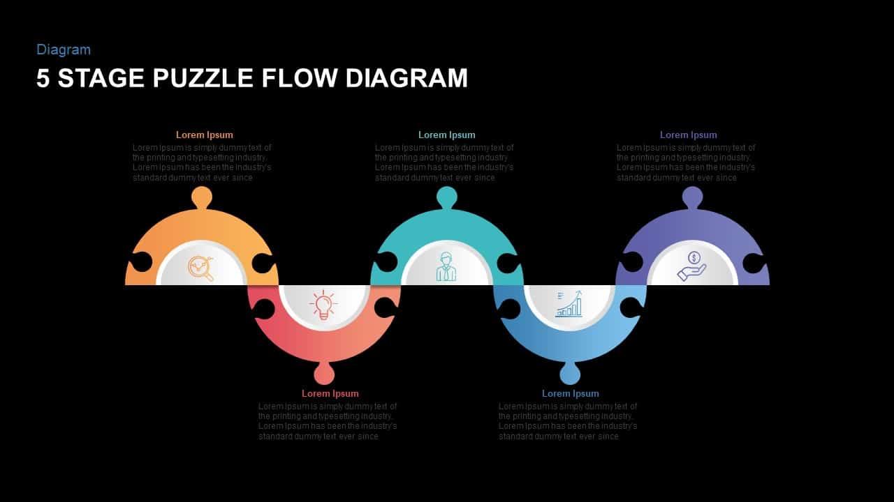 5 Steps Puzzle Flow Diagram PowerPoint Template