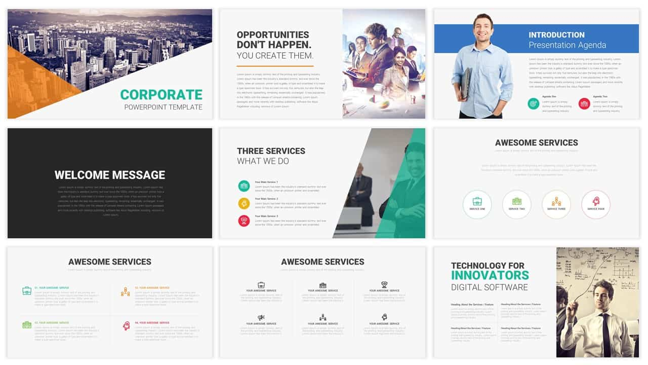 Corporate templates for PowerPoint presentation